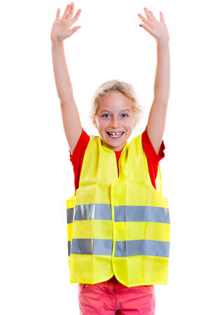 reflective: blond girl with reflective vest in front of white background Stock Photo