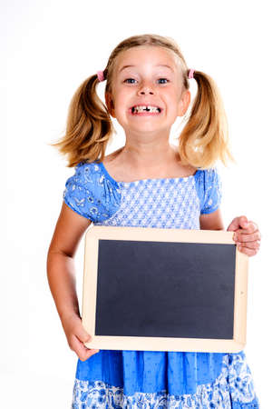 width: funny girl with space width showing a little blackboard