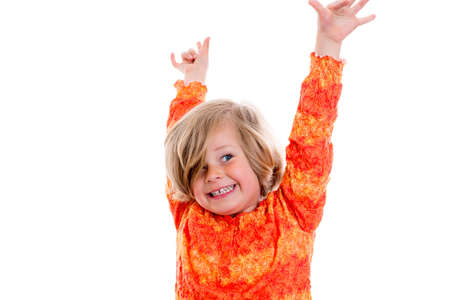 happy girl with arms up in front of white background