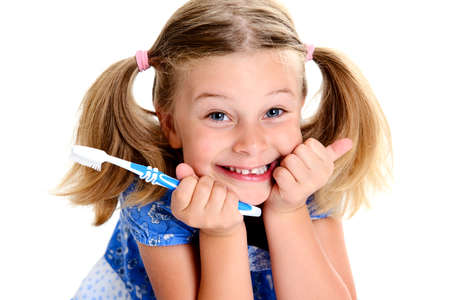 little funny girl with space width and toothbrush