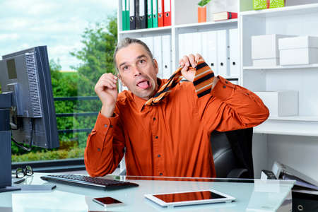 worked: young business man is completely over worked