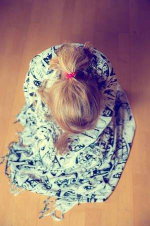 little girl is in bad mood- from above Reklamní fotografie