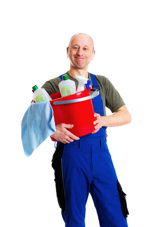 carpet clean: young male professional cleaner in front of white background