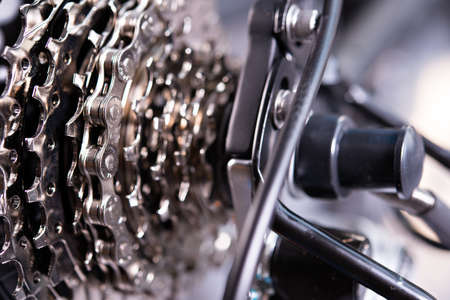 close up of  a glossy  bicycle gear Stock Photo