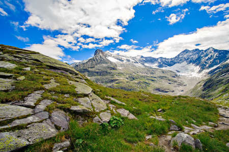 alps landscape,   mountains in front of  blue sky