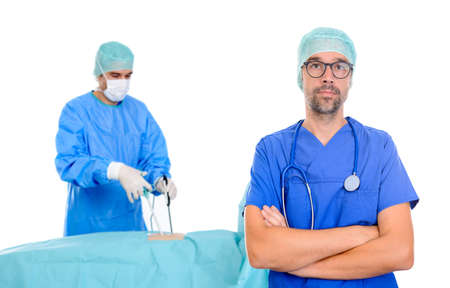 young doctor in front of endoscopy- surgery scene