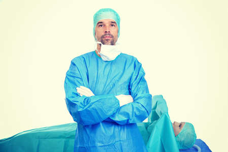 Young doctor in front of endoscopy- surgery scene Stock Photo