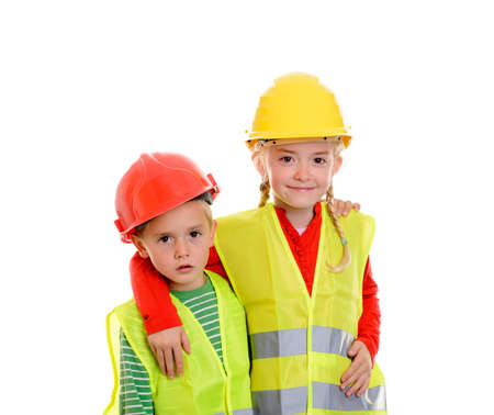 boy and girl with reflective vest and helmet in front of white background Archivio Fotografico