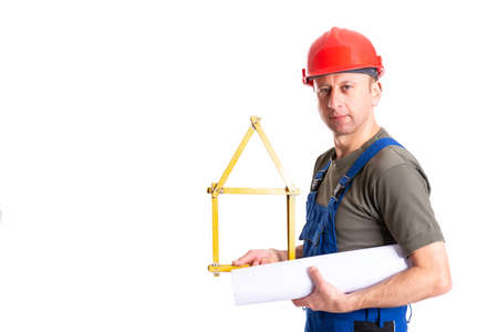 worker with yardstick- house in front of white background