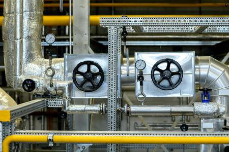 metallic pipes with pressure gauge  in industrial plant