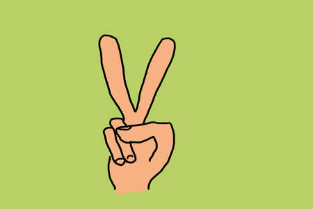 illustration of a hand with victory sign on green ground 版權商用圖片