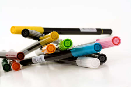 Bright Colored Markers Stock Photo