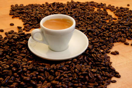 Cup of Espresso wbeans without icon Stock Photo