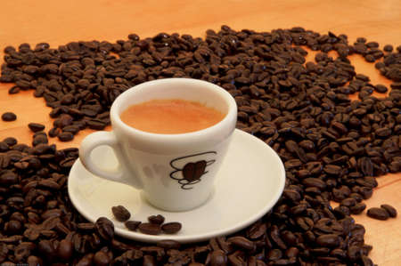 Cup of Espresso wbeans with icon
