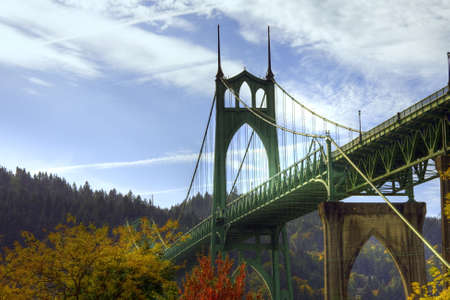 hiway: St.Johns bridge in the fall with a beautiful blue sky Stock Photo