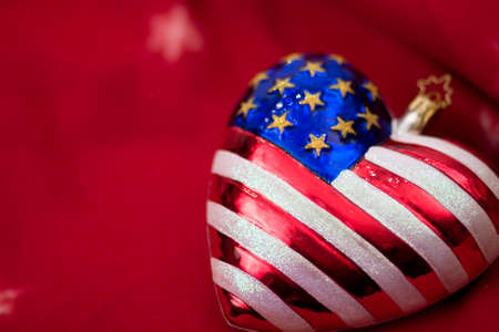 American flag Christmas ornament with red background