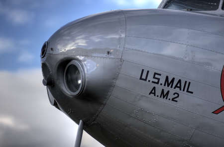 Vintage plane nose with rivets