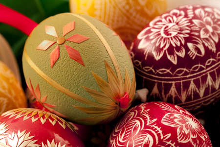 decorative eggs done by hand, stacked horizontal version 2 Stock Photo
