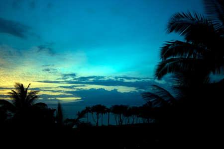 A beautiful blue tropical sunset