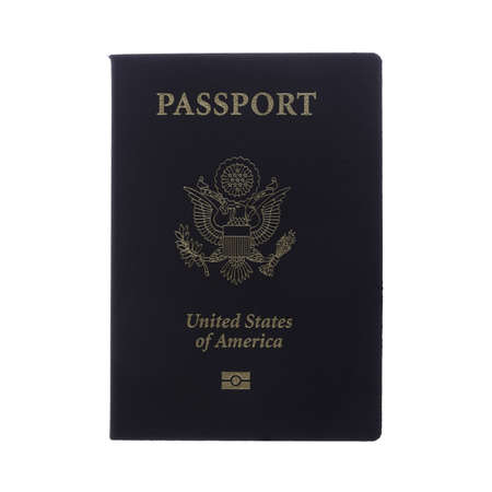 Front view of a passport isolated on white with clipping map