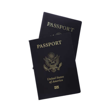 Front view of two passports isolated on white with clipping map