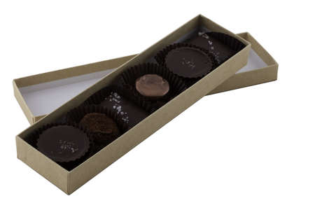 Box of chocolates isolated on white with clipping map Stock Photo