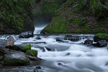 Water flowing around the rocks