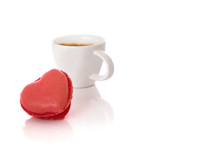 Heart shaped Macaroon and Espresso Drink Stock Photo