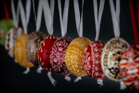 Colorful and beautifully designed eggs hanging