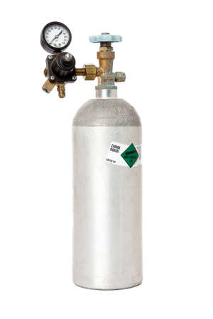 Carbon Dioxide Tank With Regulator And Label Isolated On White Background