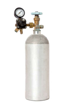 Carbon Dioxide Tank With Regulator Isolated On White Background