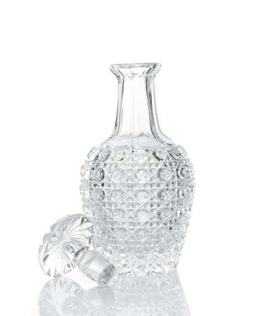 Whiskey crystal decanter isolated on white Stock Photo