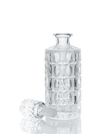 barware: Whiskey crystal decanter isolated on white Stock Photo