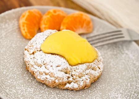 Delicious Lemon Pastry With Orange Slices Stock Photo