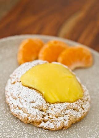 Delicious Lemon Scone With Orange Slices Stock Photo