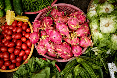 heathy diet: Colorful Vegetables At Vietnamese Market Stock Photo