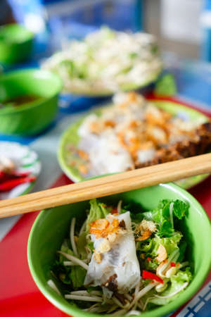 heathy diet: Vietnamese Rolled cake and rice noodles with grilled meat (Bánh cuốn and Thit nuóng)