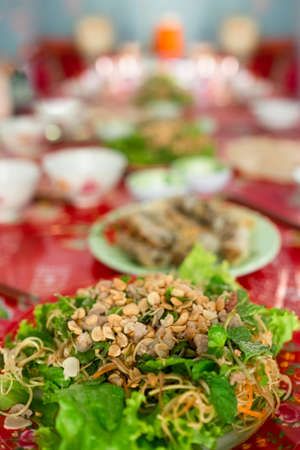 Vietnamese Food Greens Noodles Topped With Nuts