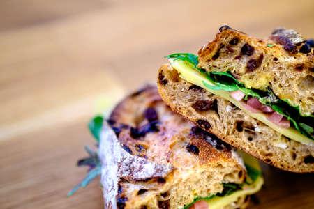 deli sandwich: A deli sandwich on rustic bread