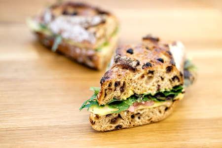 deli sandwich: A delicious rustic deli sandwich Stock Photo