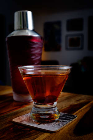 Classic Manhattan Cocktail Stock Photo