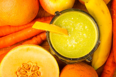 Heathly smoothie ready to drink made of freash fruits and vegetables