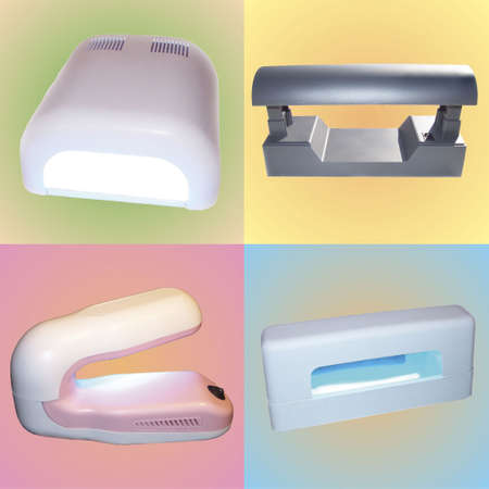 ultraviolet: UV Lamps for Nail Curing  MONTAGE Stock Photo