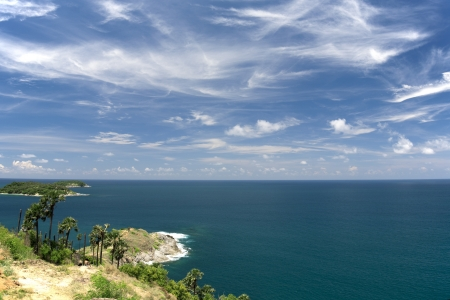 thep: hrom thep cape viewpoint with blue sky Phuket,Thailand  Stock Photo