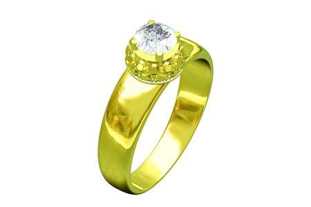 brilliants: Wedding gold ring with brilliants Stock Photo
