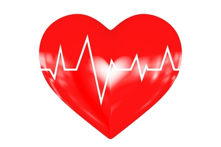 Illustration depicting a graph from a heart beat and a heart Stock Illustration - 18275128