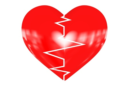 Illustration depicting a graph from a heart beat and a heart  illustration