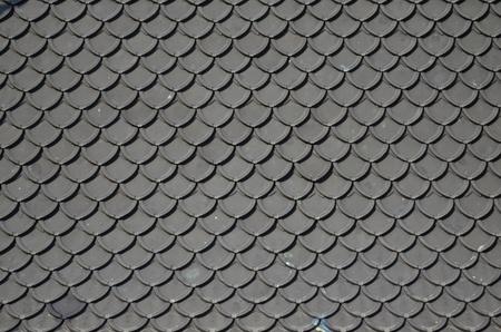 roof shingles: Loha Prasat, Metal Roof of Metal Palace, Wat Ratchanadda, temple in Bangkok Thailand 2