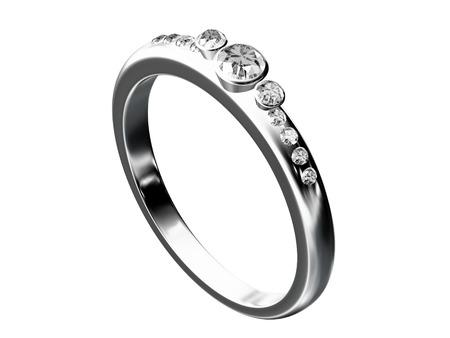 bodas de plata: anillo de bodas de plata aislado en blanco Foto de archivo