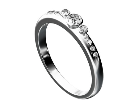 silver wedding ring isolated on white  photo